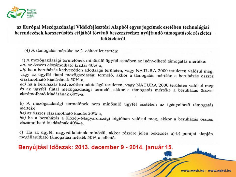 Benyújtási időszak: 2013. december 9 - 2014. január 15.