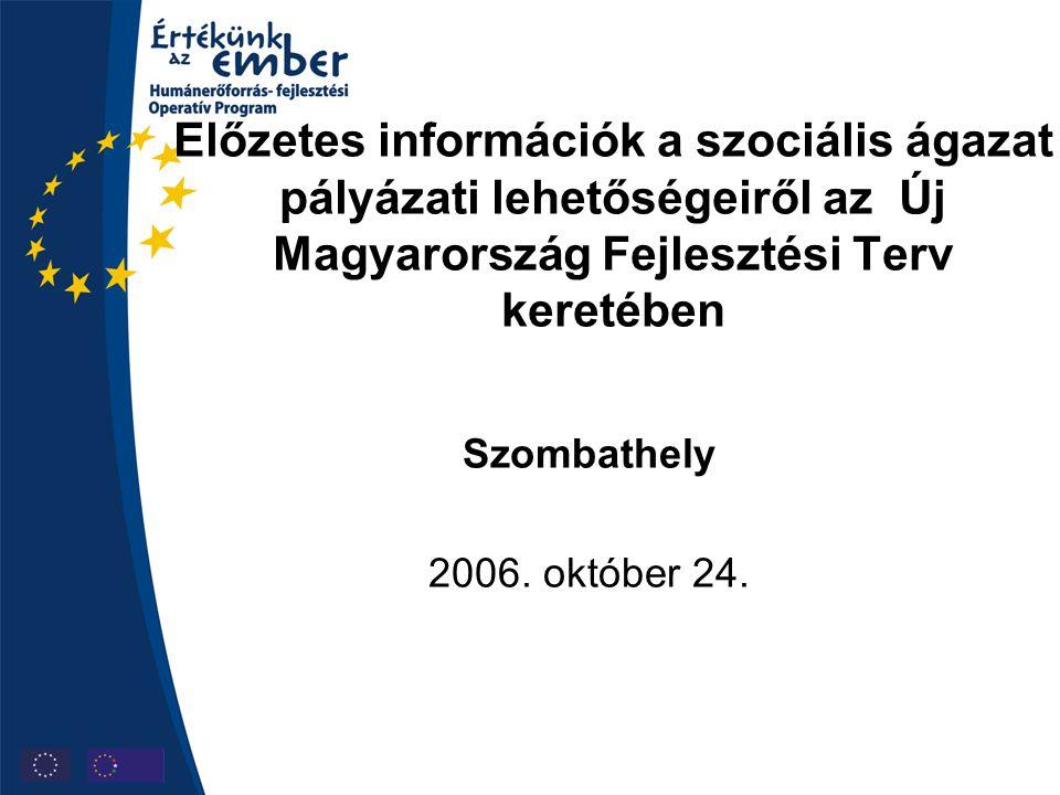 Előzetes információk a szociális ágazat pályázati lehetőségeiről az Új Magyarország Fejlesztési Terv keretében