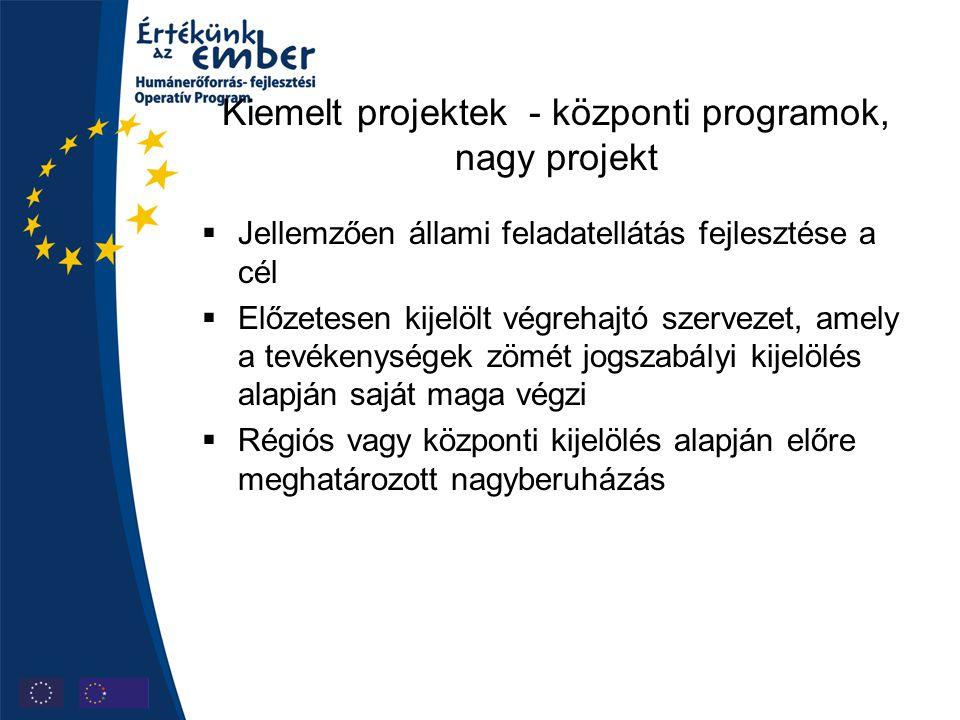 Kiemelt projektek - központi programok, nagy projekt