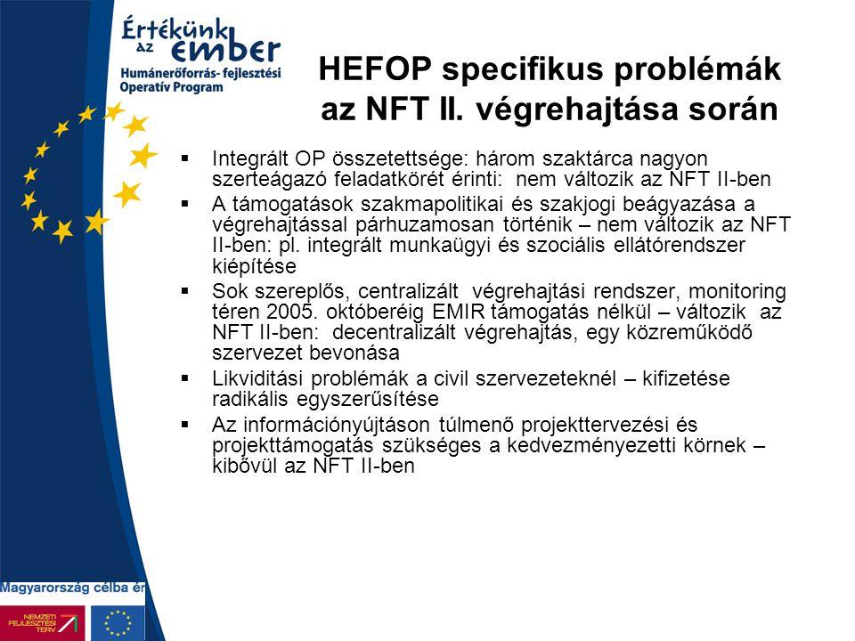 HEFOP specifikus problémák az NFT II. végrehajtása során