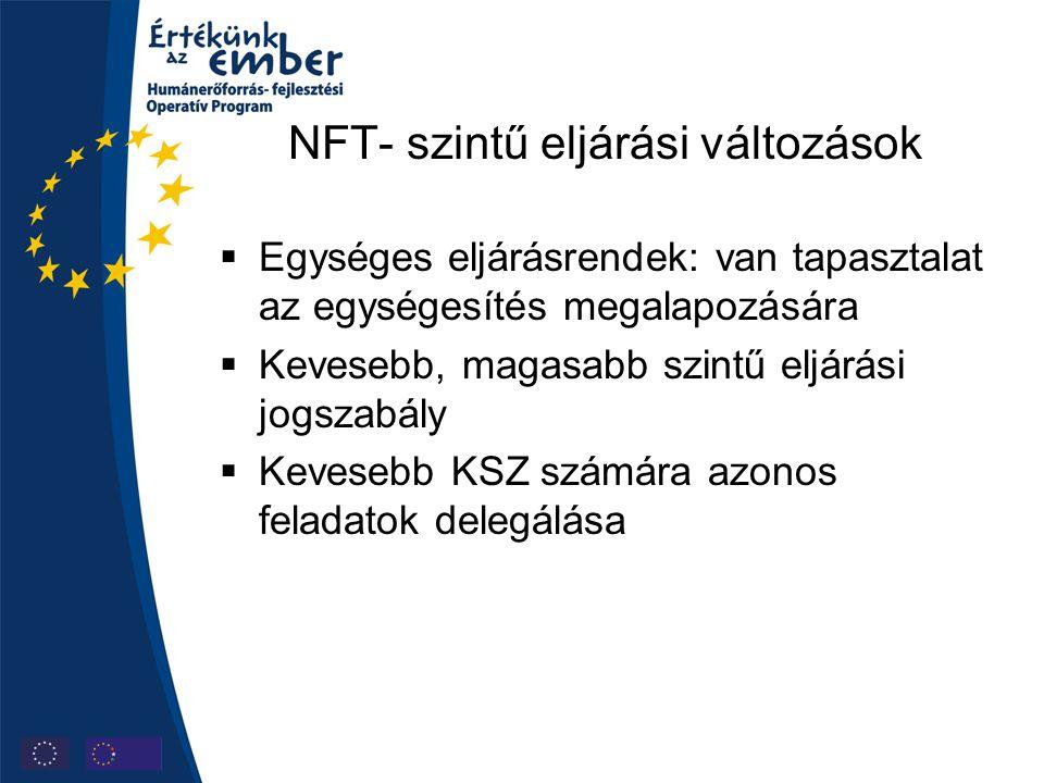 NFT- szintű eljárási változások