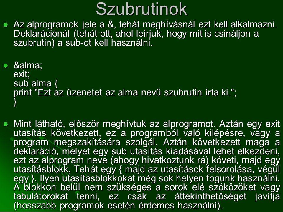 Szubrutinok