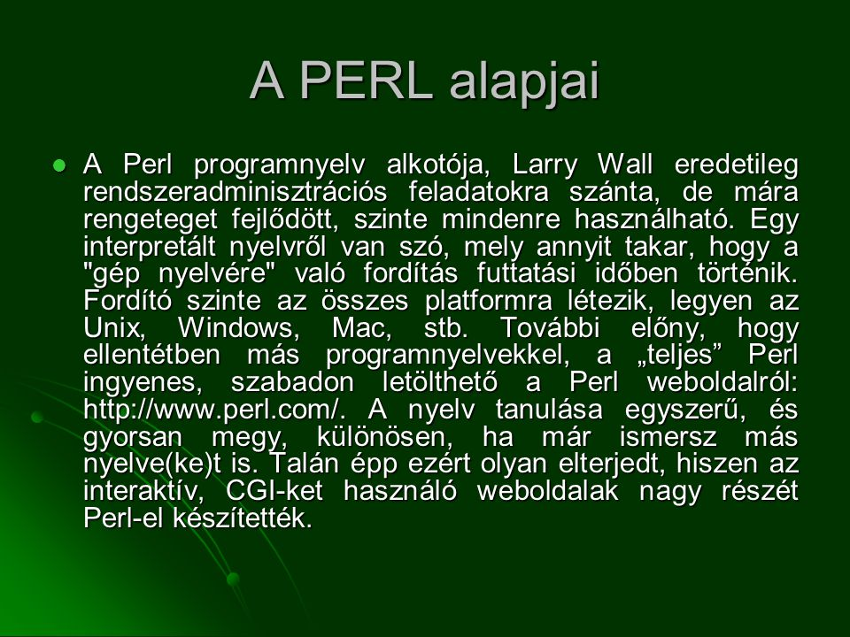 A PERL alapjai