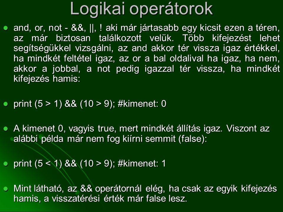 Logikai operátorok