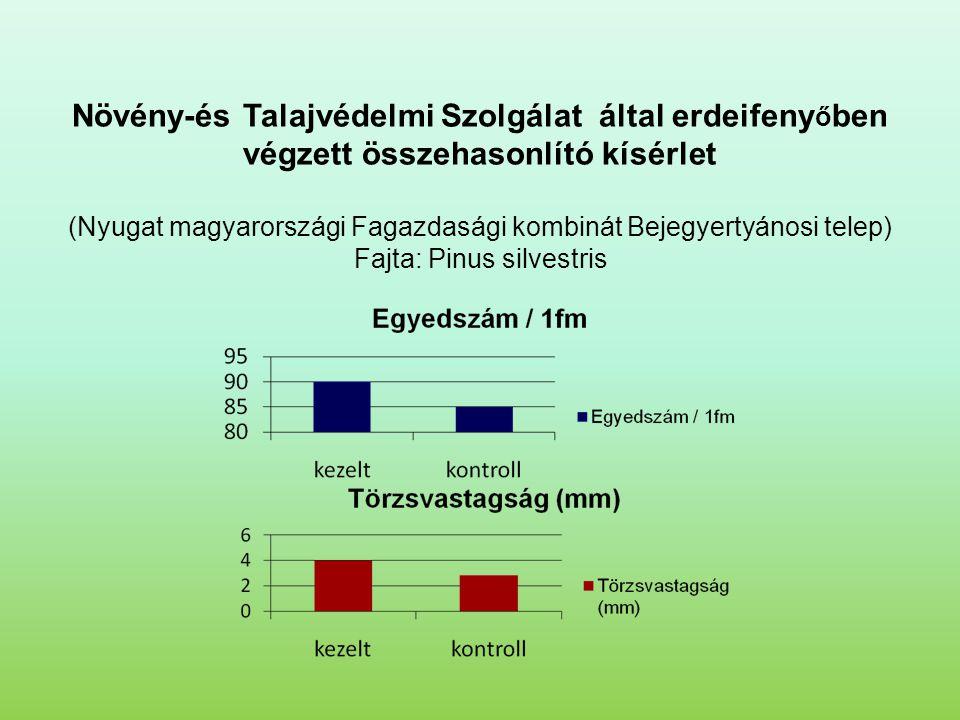 Növény-és Talajvédelmi Szolgálat által erdeifenyőben végzett összehasonlító kísérlet