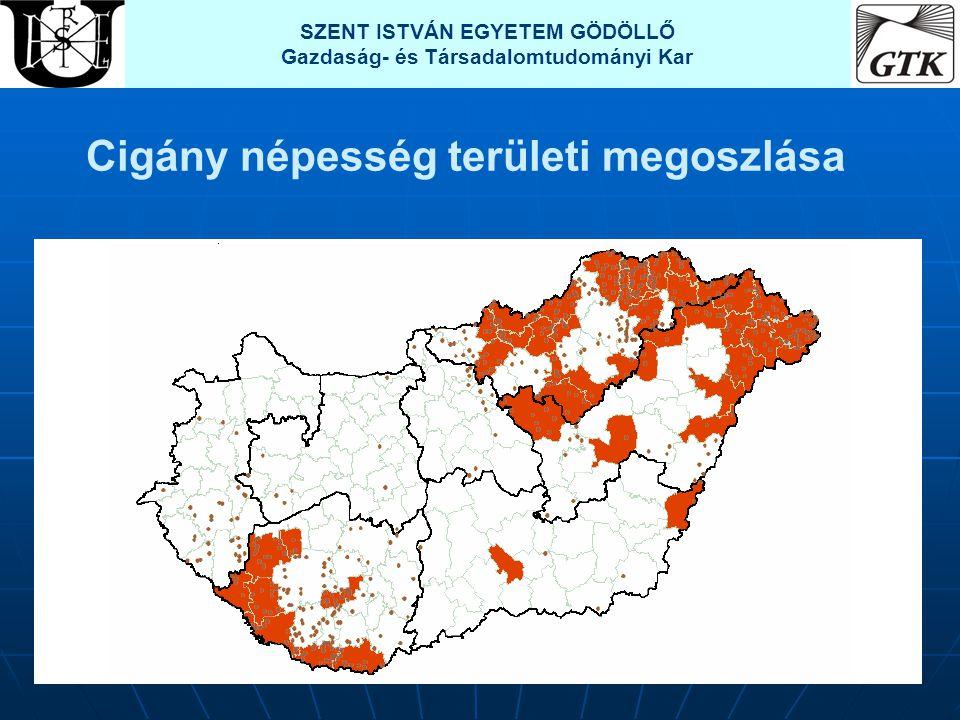 Cigány népesség területi megoszlása