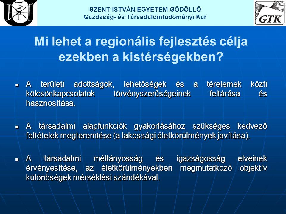 Mi lehet a regionális fejlesztés célja ezekben a kistérségekben