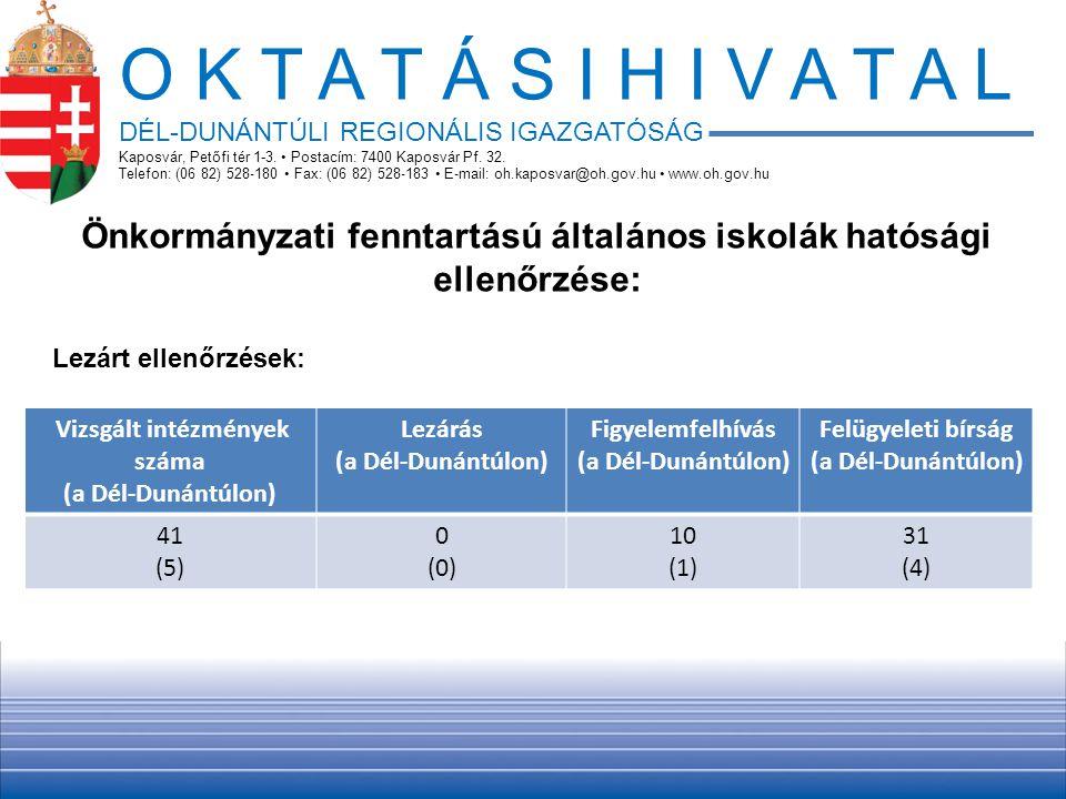 O K T A T Á S I H I V A T A L DÉL-DUNÁNTÚLI REGIONÁLIS IGAZGATÓSÁG. Kaposvár, Petőfi tér 1-3. • Postacím: 7400 Kaposvár Pf. 32.