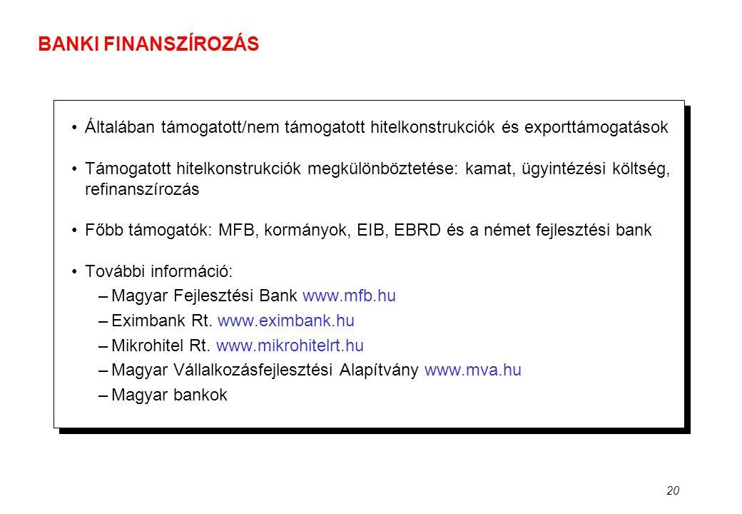BANKI FINANSZÍROZÁS Általában támogatott/nem támogatott hitelkonstrukciók és exporttámogatások.