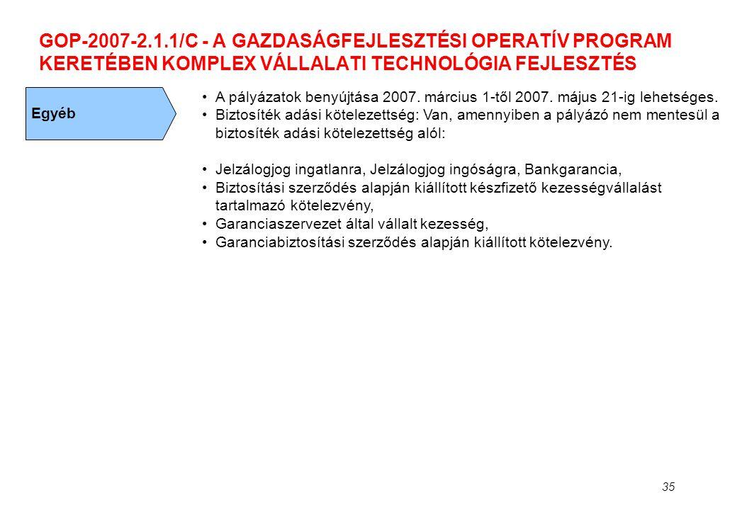 GOP-2007-2.1.1/C - A GAZDASÁGFEJLESZTÉSI OPERATÍV PROGRAM KERETÉBEN KOMPLEX VÁLLALATI TECHNOLÓGIA FEJLESZTÉS