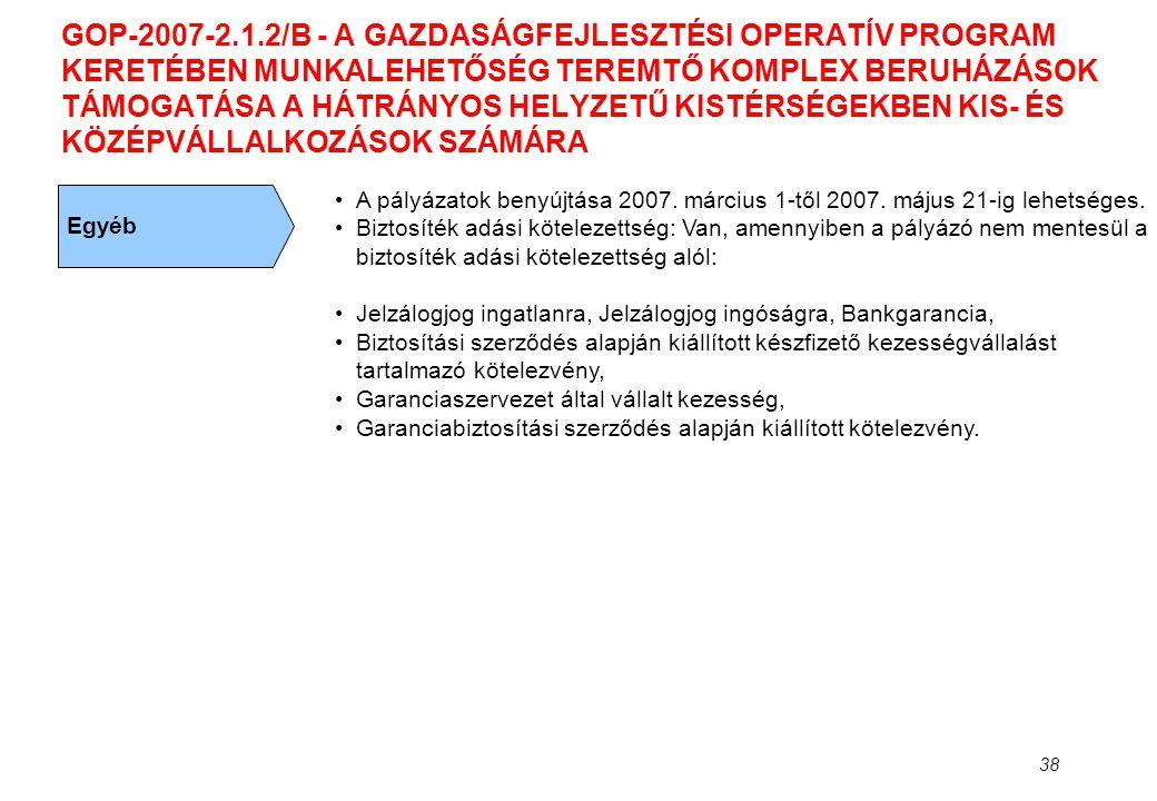 GOP-2007-2.1.2/B - A GAZDASÁGFEJLESZTÉSI OPERATÍV PROGRAM KERETÉBEN MUNKALEHETŐSÉG TEREMTŐ KOMPLEX BERUHÁZÁSOK TÁMOGATÁSA A HÁTRÁNYOS HELYZETŰ KISTÉRSÉGEKBEN KIS- ÉS KÖZÉPVÁLLALKOZÁSOK SZÁMÁRA