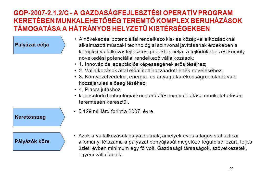 GOP-2007-2.1.2/C - A GAZDASÁGFEJLESZTÉSI OPERATÍV PROGRAM KERETÉBEN MUNKALEHETŐSÉG TEREMTŐ KOMPLEX BERUHÁZÁSOK TÁMOGATÁSA A HÁTRÁNYOS HELYZETŰ KISTÉRSÉGEKBEN