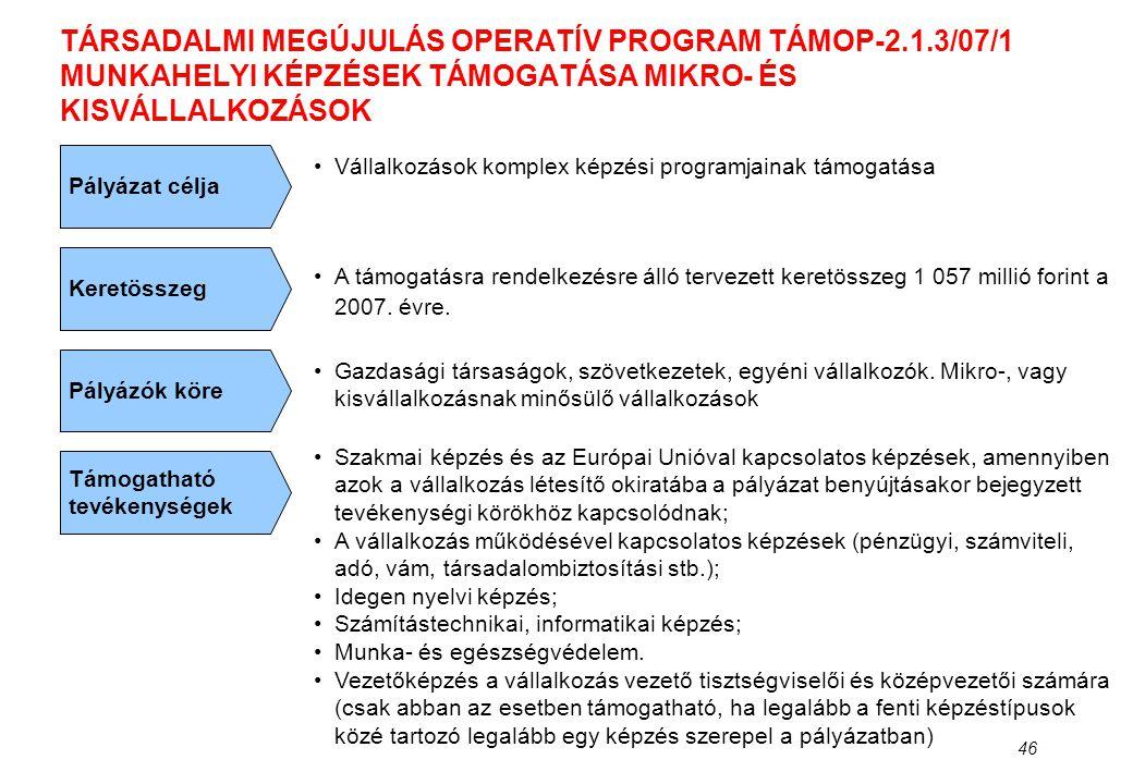 TÁRSADALMI MEGÚJULÁS OPERATÍV PROGRAM TÁMOP-2. 1