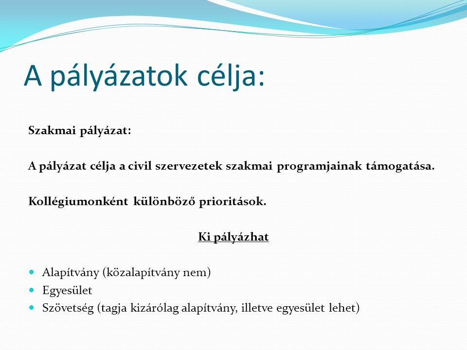 A pályázatok célja: Szakmai pályázat: