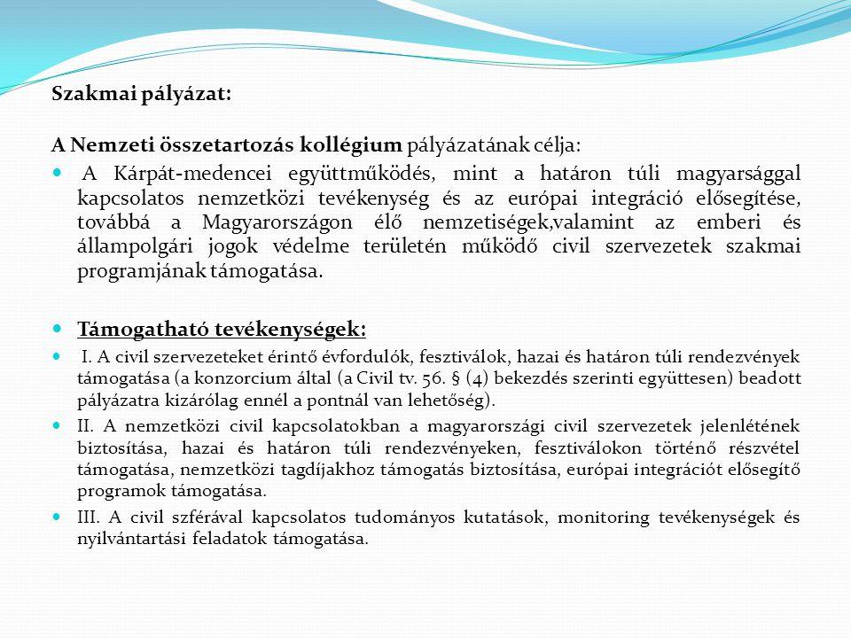 A Nemzeti összetartozás kollégium pályázatának célja: