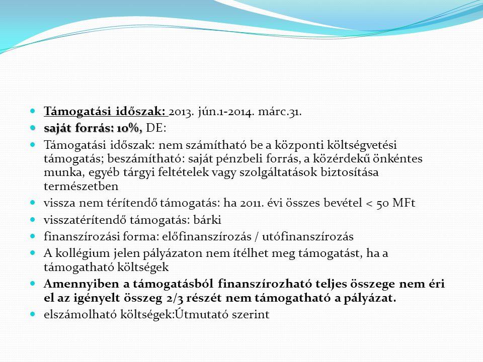 Támogatási időszak: 2013. jún.1-2014. márc.31.