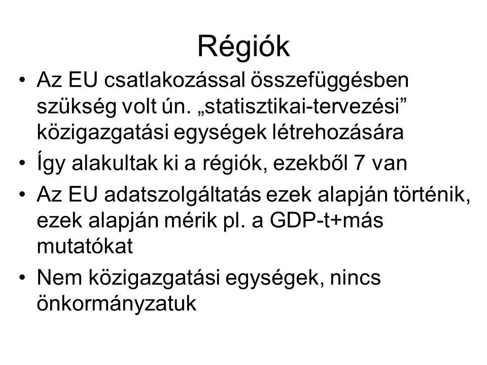 """Régiók Az EU csatlakozással összefüggésben szükség volt ún. """"statisztikai-tervezési közigazgatási egységek létrehozására."""