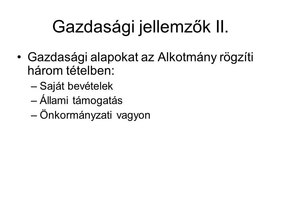 Gazdasági jellemzők II.