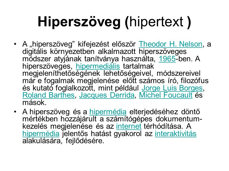 Hiperszöveg (hipertext )