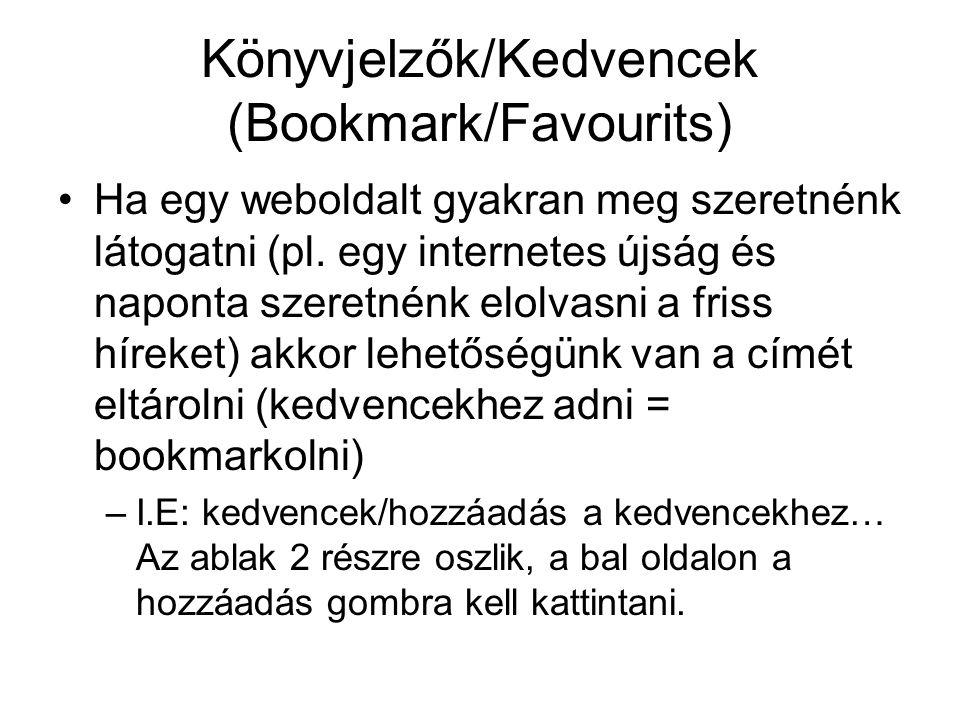 Könyvjelzők/Kedvencek (Bookmark/Favourits)