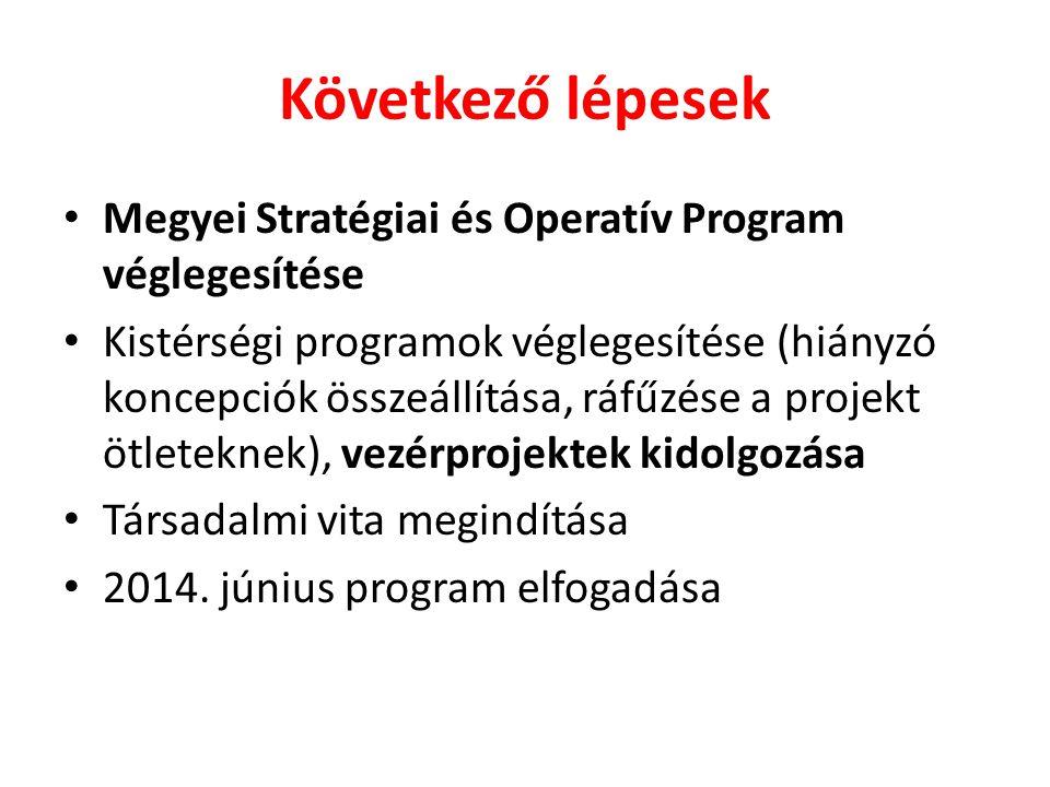 Következő lépesek Megyei Stratégiai és Operatív Program véglegesítése