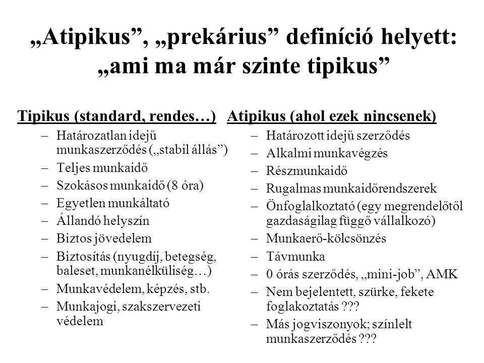 """""""Atipikus , """"prekárius definíció helyett: """"ami ma már szinte tipikus"""