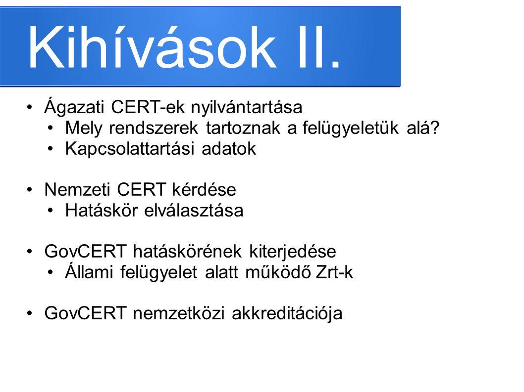 Kihívások II. Ágazati CERT-ek nyilvántartása