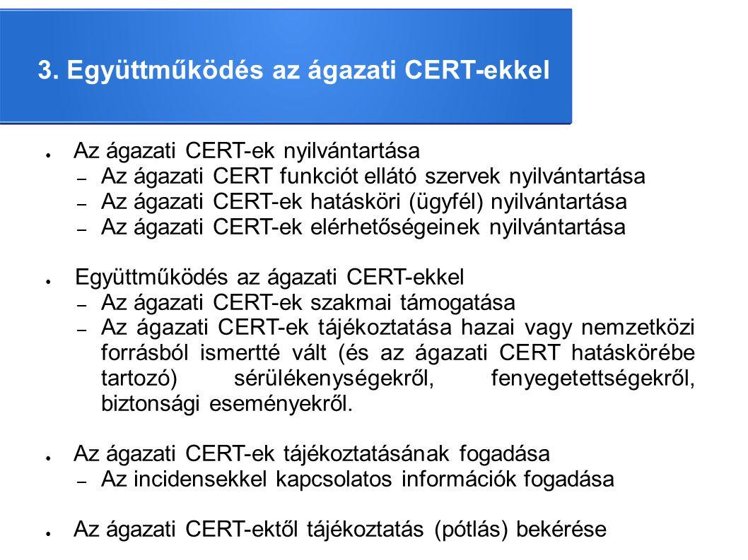 3. Együttműködés az ágazati CERT-ekkel