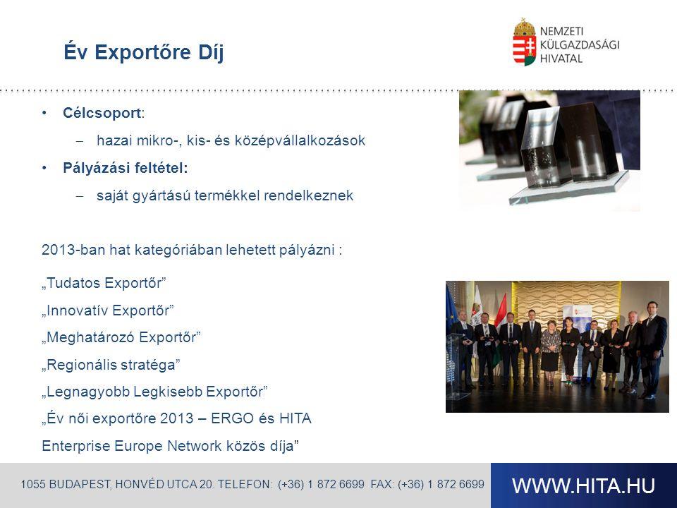 Év Exportőre Díj Célcsoport: hazai mikro-, kis- és középvállalkozások. Pályázási feltétel: saját gyártású termékkel rendelkeznek.