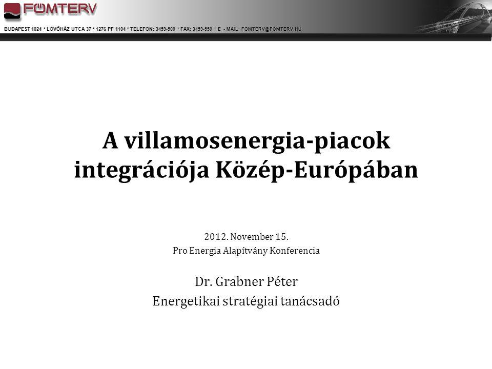 A villamosenergia-piacok integrációja Közép-Európában