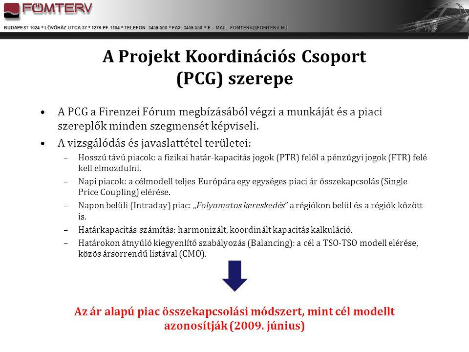 A Projekt Koordinációs Csoport (PCG) szerepe