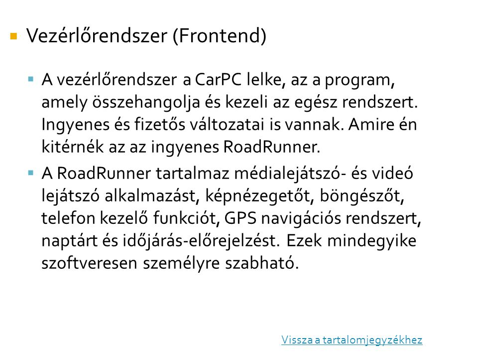 Vezérlőrendszer (Frontend)