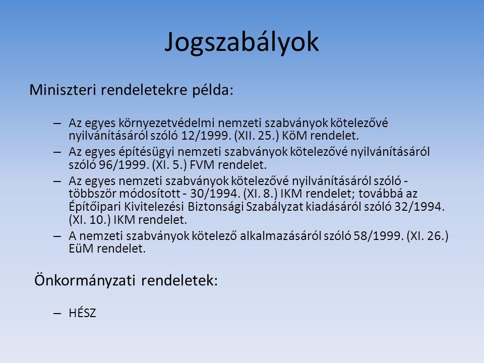 Jogszabályok Miniszteri rendeletekre példa: Önkormányzati rendeletek: