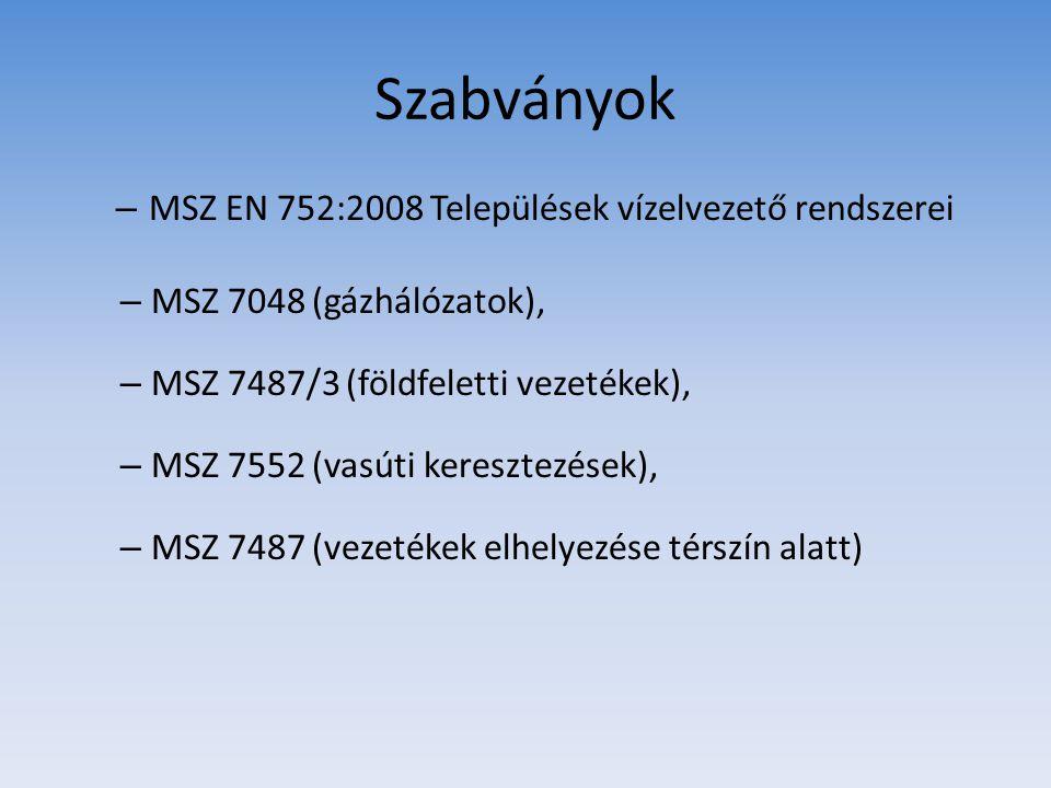 Szabványok MSZ EN 752:2008 Települések vízelvezető rendszerei