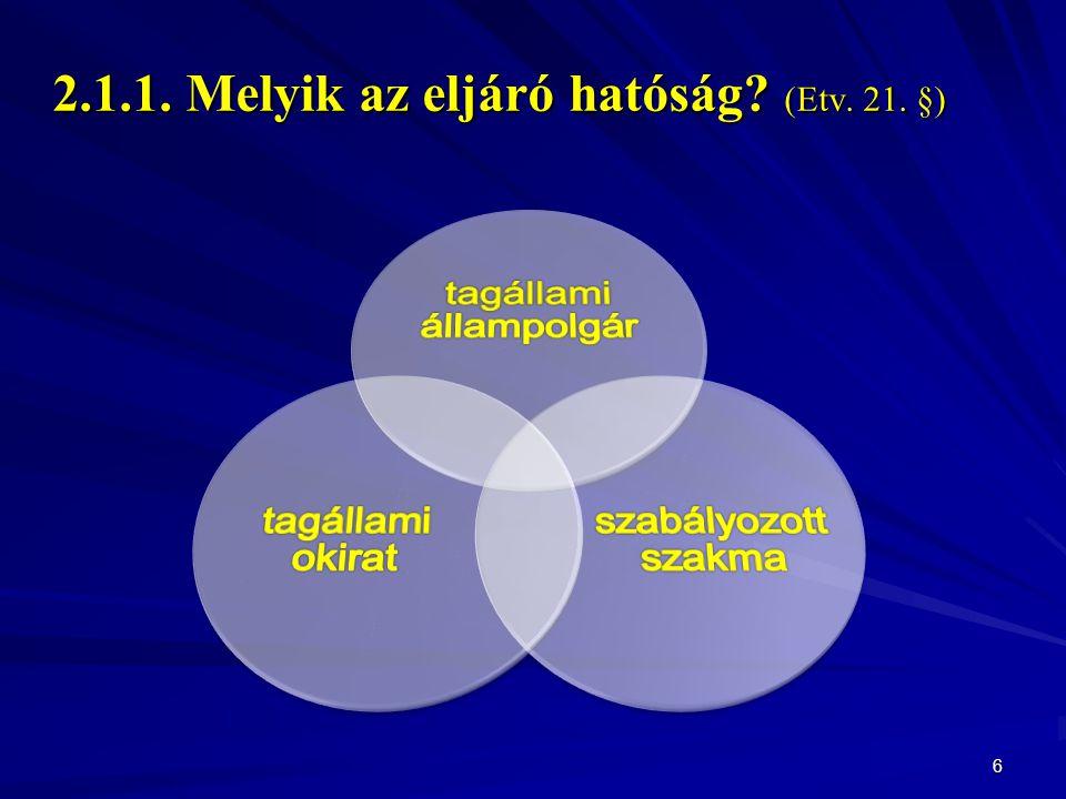2.1.1. Melyik az eljáró hatóság (Etv. 21. §)
