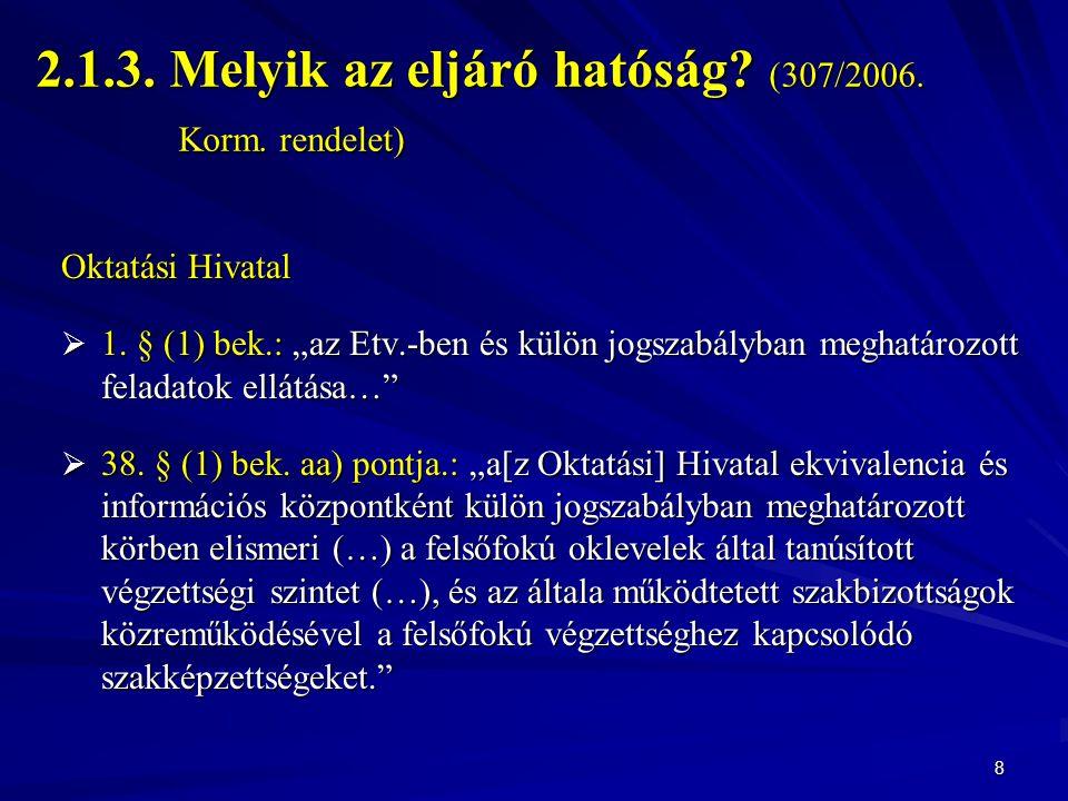 2.1.3. Melyik az eljáró hatóság (307/2006. Korm. rendelet)