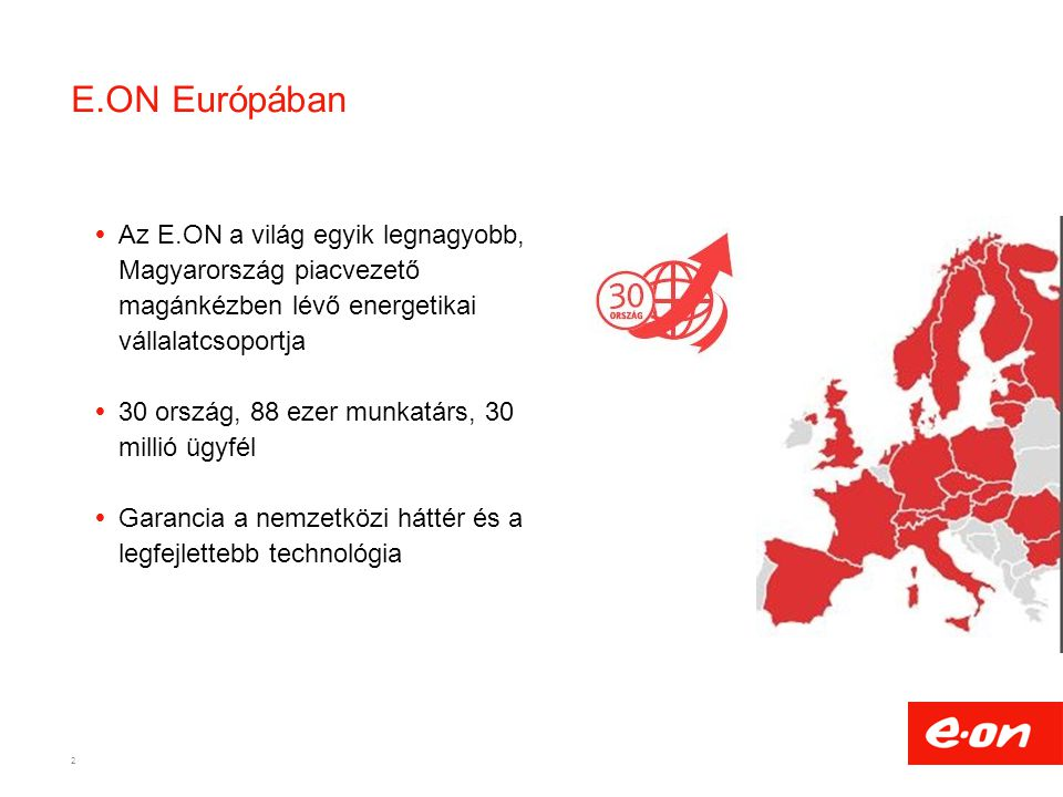 E.ON Európában Az E.ON a világ egyik legnagyobb, Magyarország piacvezető magánkézben lévő energetikai vállalatcsoportja.