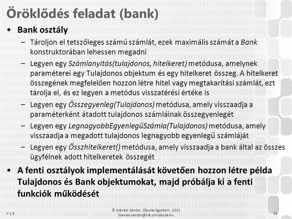 Öröklődés feladat (bank)
