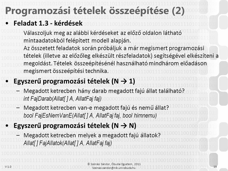 Programozási tételek összeépítése (2)