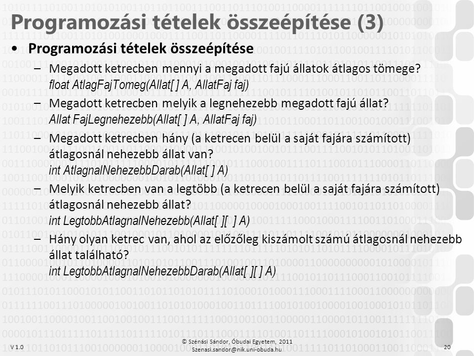 Programozási tételek összeépítése (3)