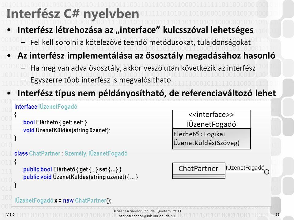 """Interfész C# nyelvben Interfész létrehozása az """"interface kulcsszóval lehetséges. Fel kell sorolni a kötelezővé teendő metódusokat, tulajdonságokat."""
