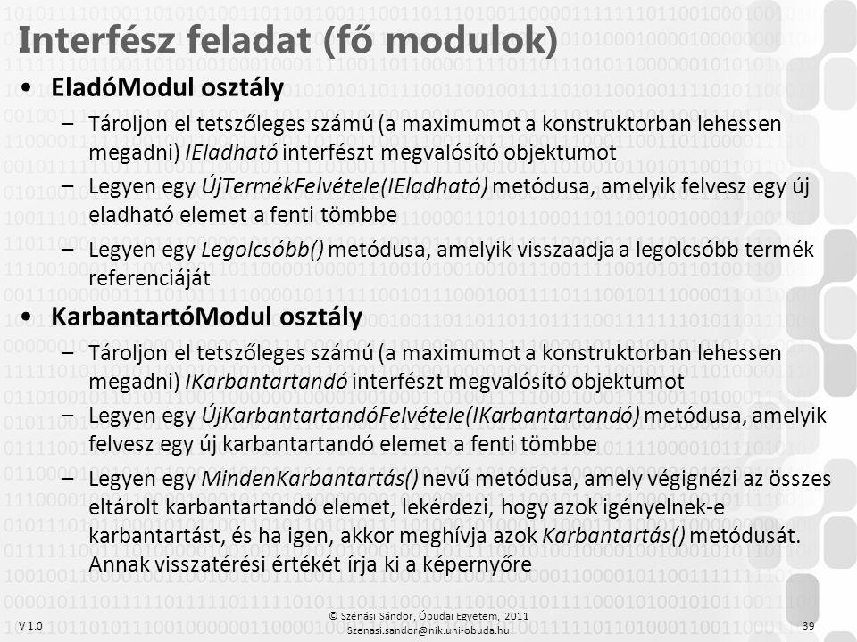 Interfész feladat (fő modulok)