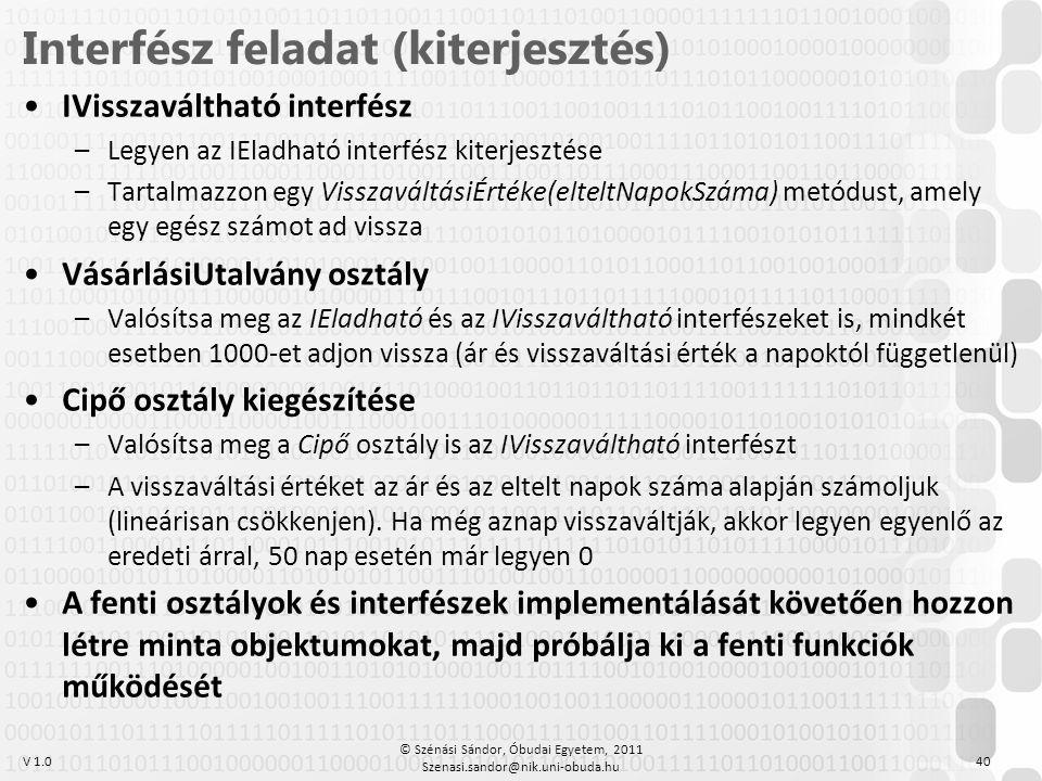 Interfész feladat (kiterjesztés)