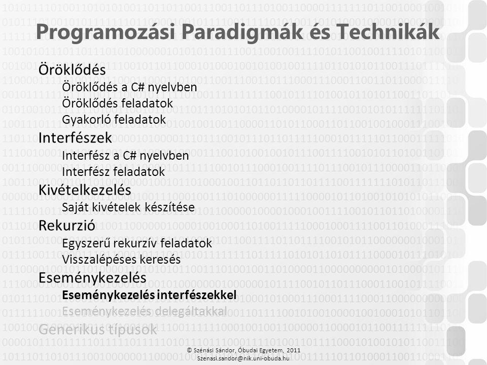 Programozási Paradigmák és Technikák