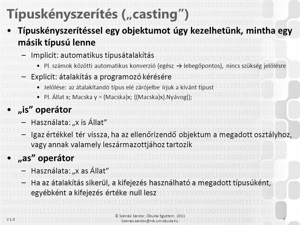 """Típuskényszerítés (""""casting )"""