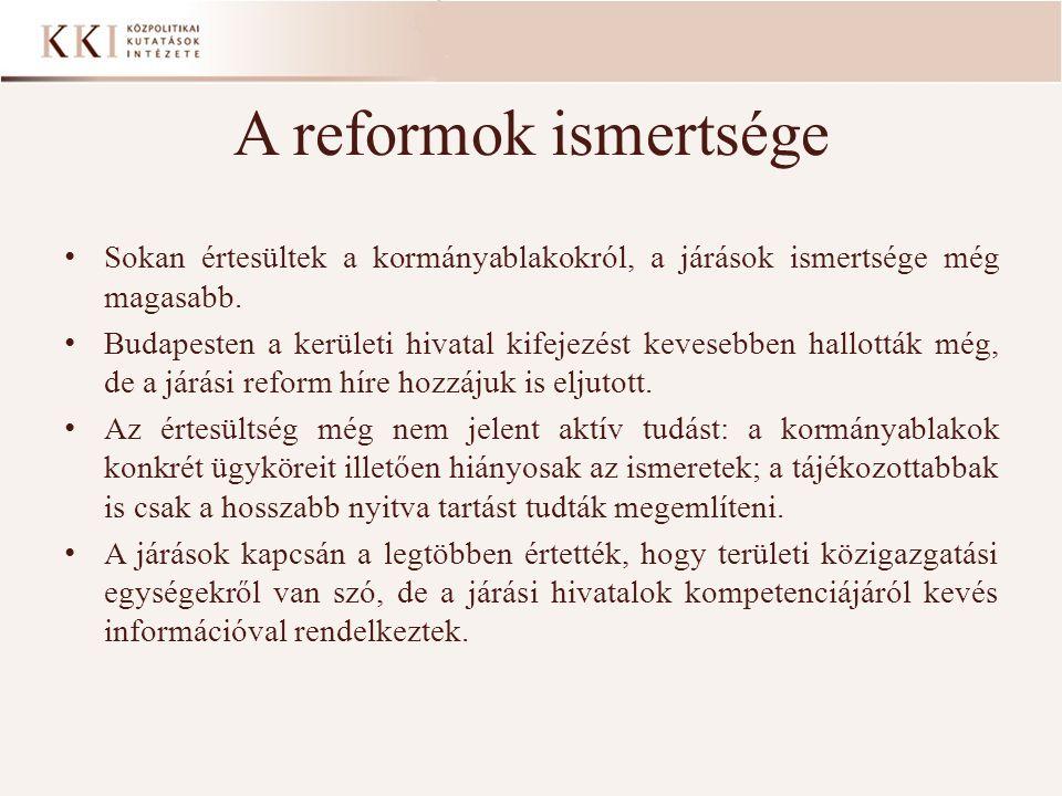 A reformok ismertsége Sokan értesültek a kormányablakokról, a járások ismertsége még magasabb.