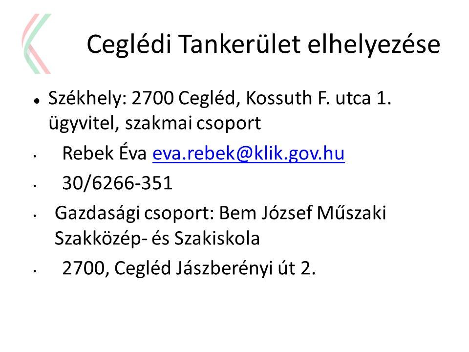 Ceglédi Tankerület elhelyezése