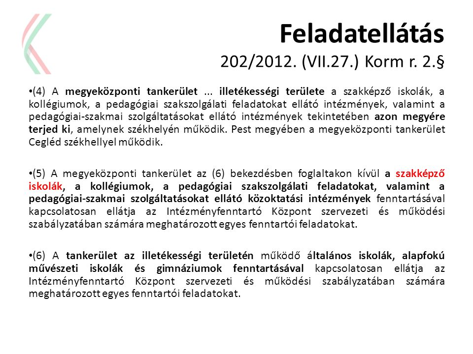 Feladatellátás 202/2012. (VII.27.) Korm r. 2.§
