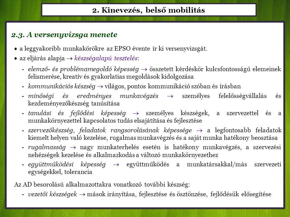 2. Kinevezés, belső mobilitás