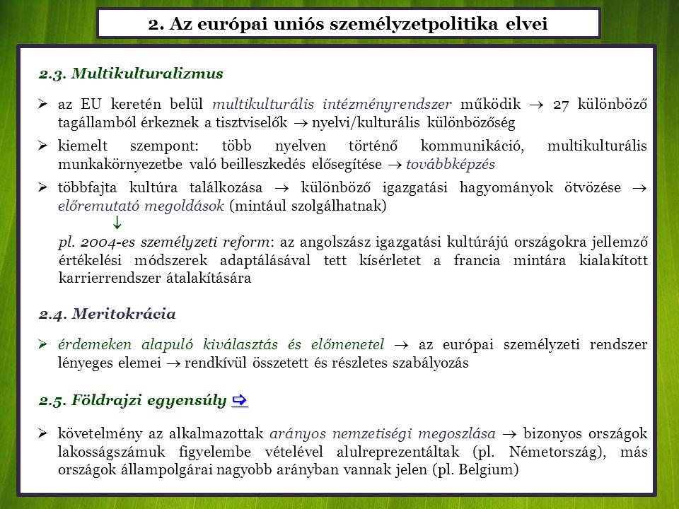2. Az európai uniós személyzetpolitika elvei